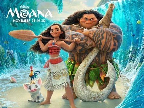 A poster for the movie, featuring Moana and Maui.