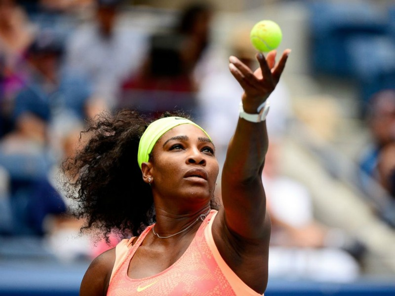 Serena about to serve.