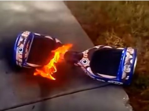 This is a example of a hoverboard on fire