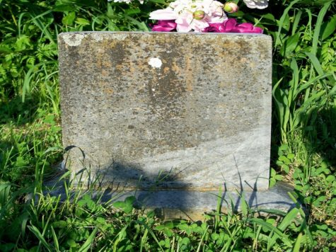 An empty tombstone.