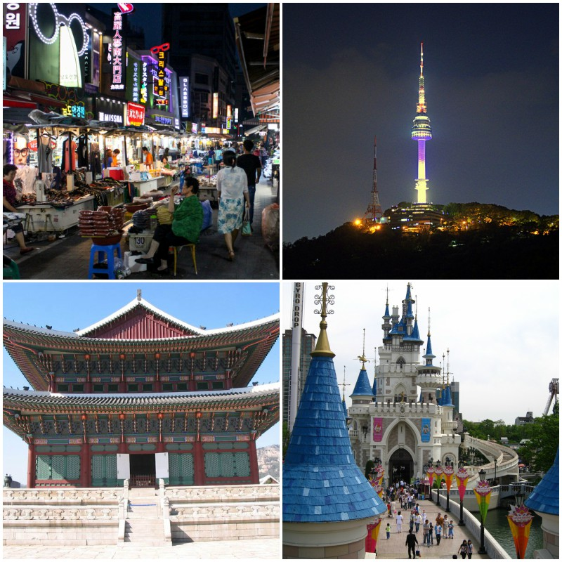 Dongdaemun Market (top left), N Seoul Tower (top right), Gyeongbokgung Palace (bottom left), and Lotte World (bottom right).