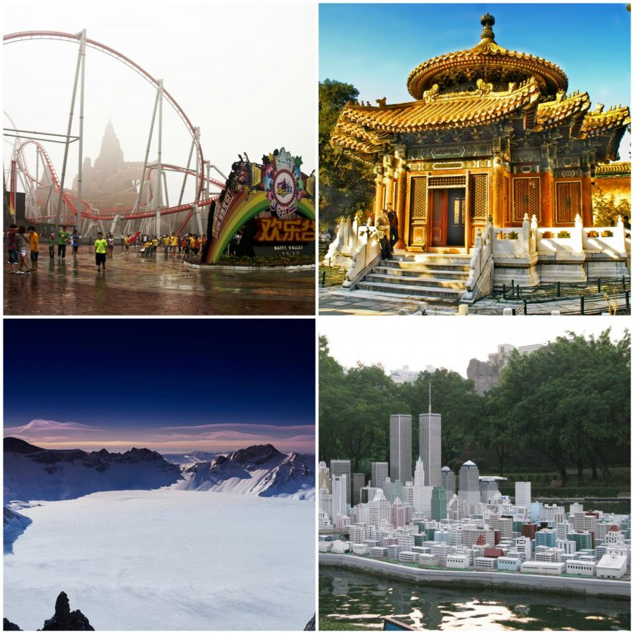 Happy Valley Theme Park (top left), view from Changbai Mountain (bottom left), the Forbidden City (top right) and Window of the World (bottom right).