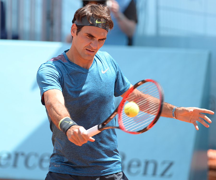 Roger rallying before a game.