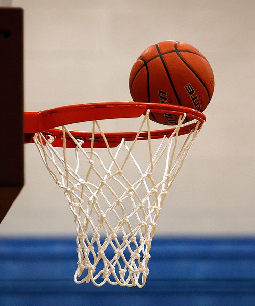 A basketball after it was shot