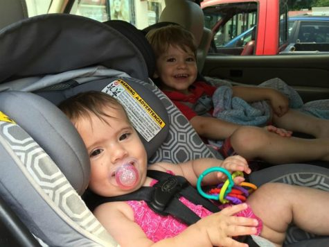 toddlers in a car
