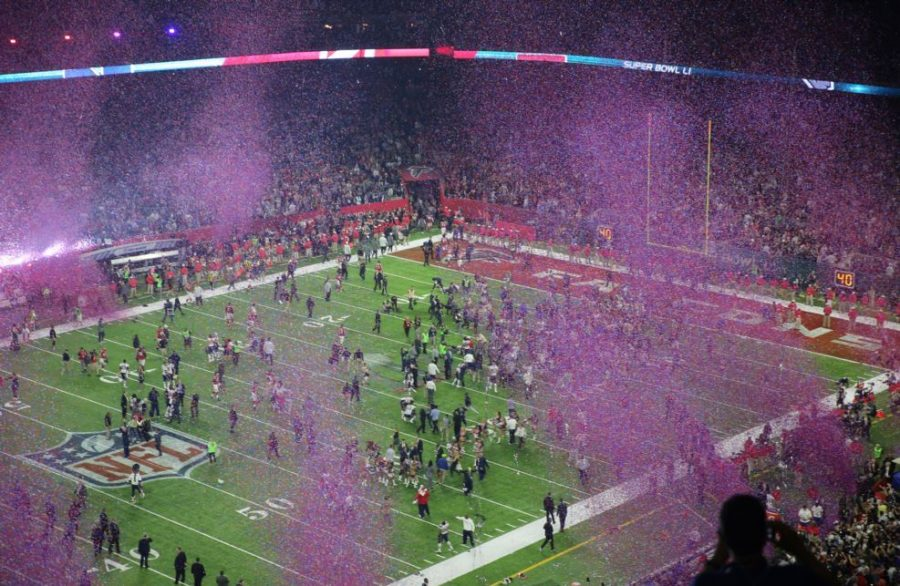 The stadium is filled with confetti.