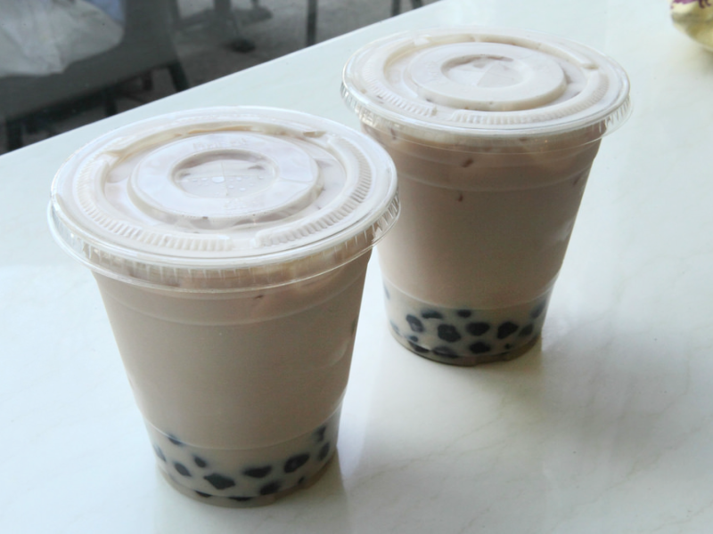 Two boba drinks
