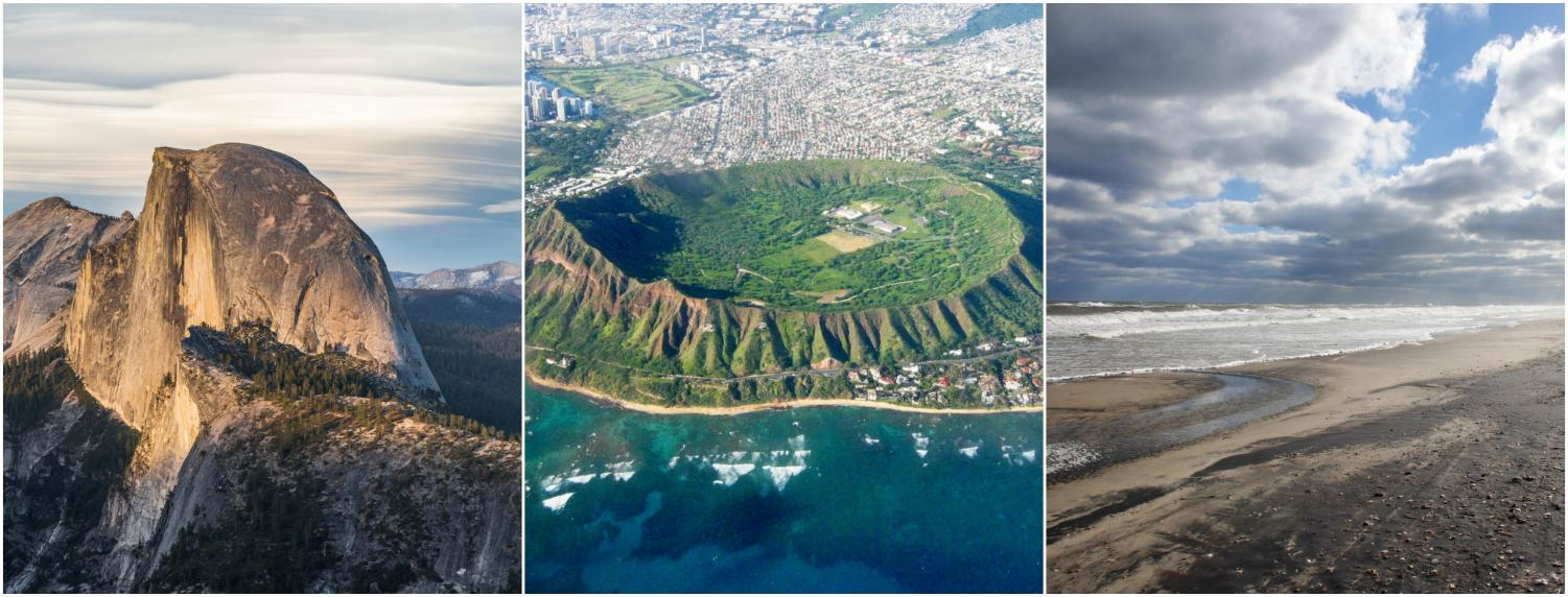 Beautiful views of Yosemite, Honolulu and the Outer Banks.