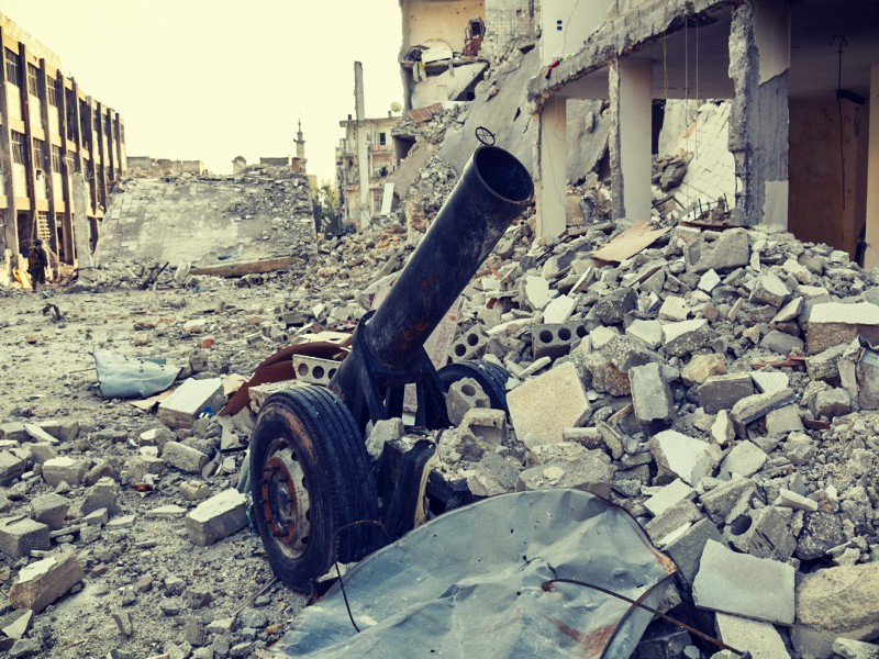 Destruction in a Syrian city
