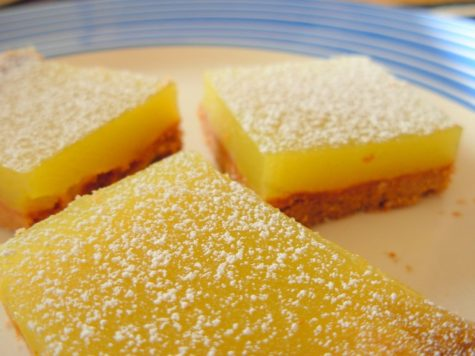 A picture of fresh-made lemon bars.