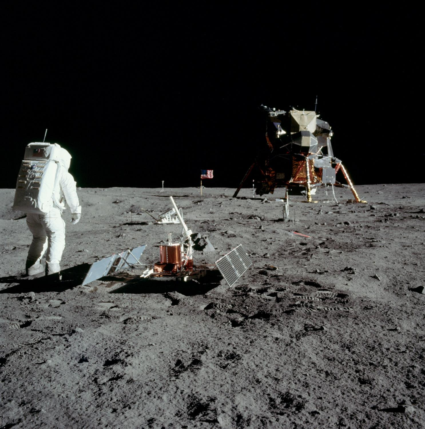 Astronauts investigating the moon