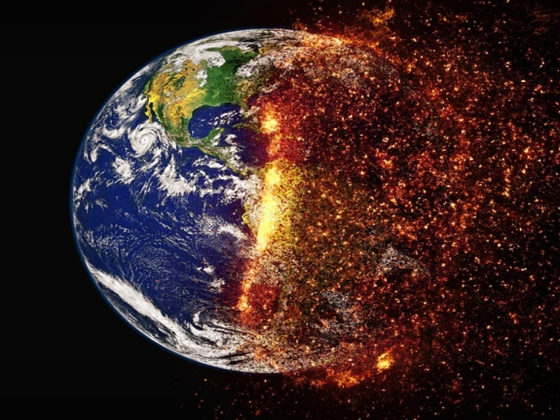 An exaggerated representation of global warming/if the ozone layer was destroyed