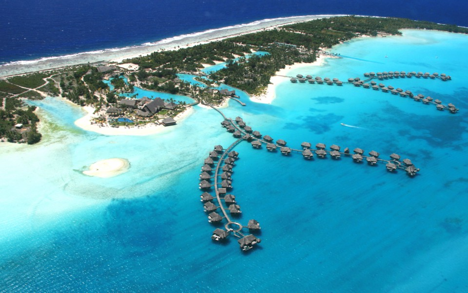 Over water bungalows floating