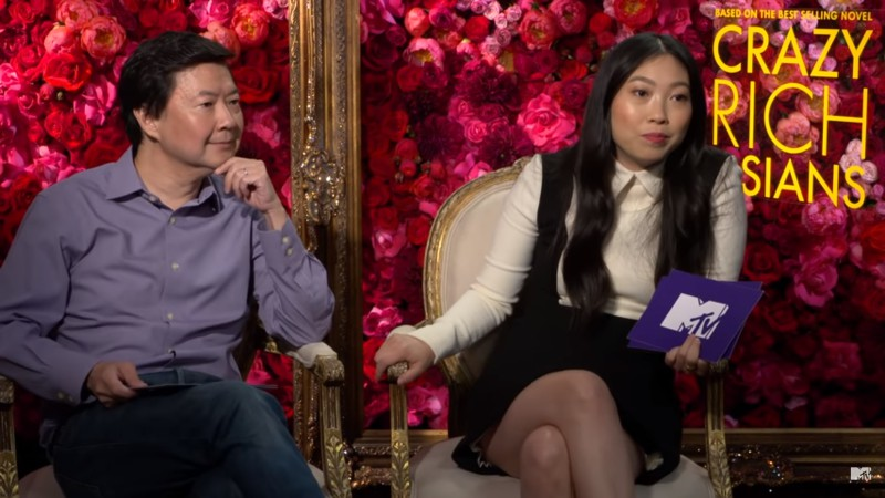 Co-stars+Ken+Jeong+and+Awkwafina+play+Never+Have+I+Ever+with+MTV