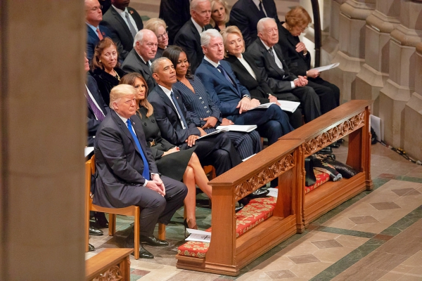 All living presidents at George HW Bush's funeral