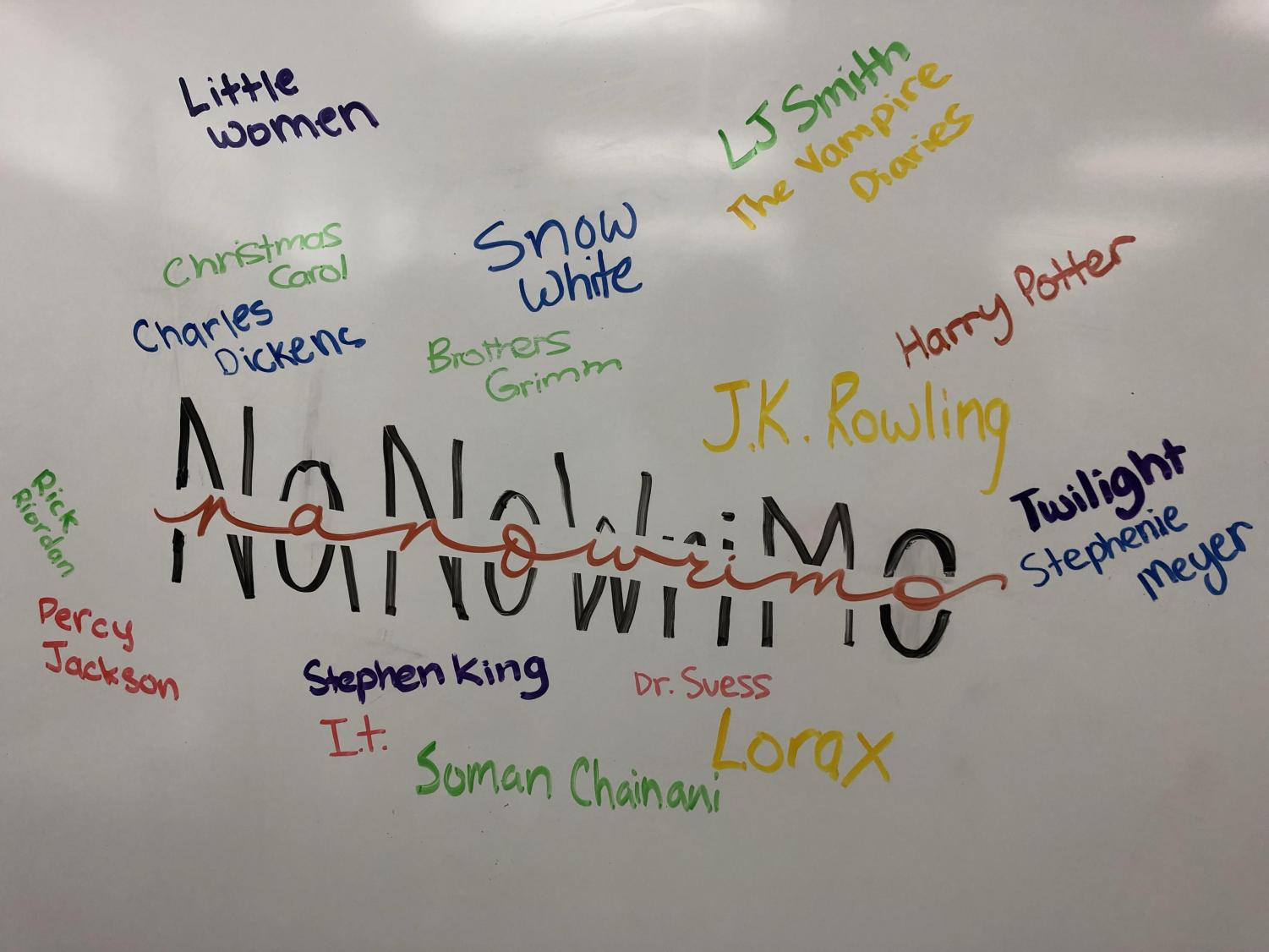 The logo of NaNoWriMo with the names of popular authors and books by Kraemer students Mia R, Anya D, and Jacqueline C.