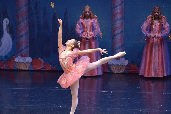 The Sugar Plum Fairy in a  performance of The Nutcracker by Maine State Ballet