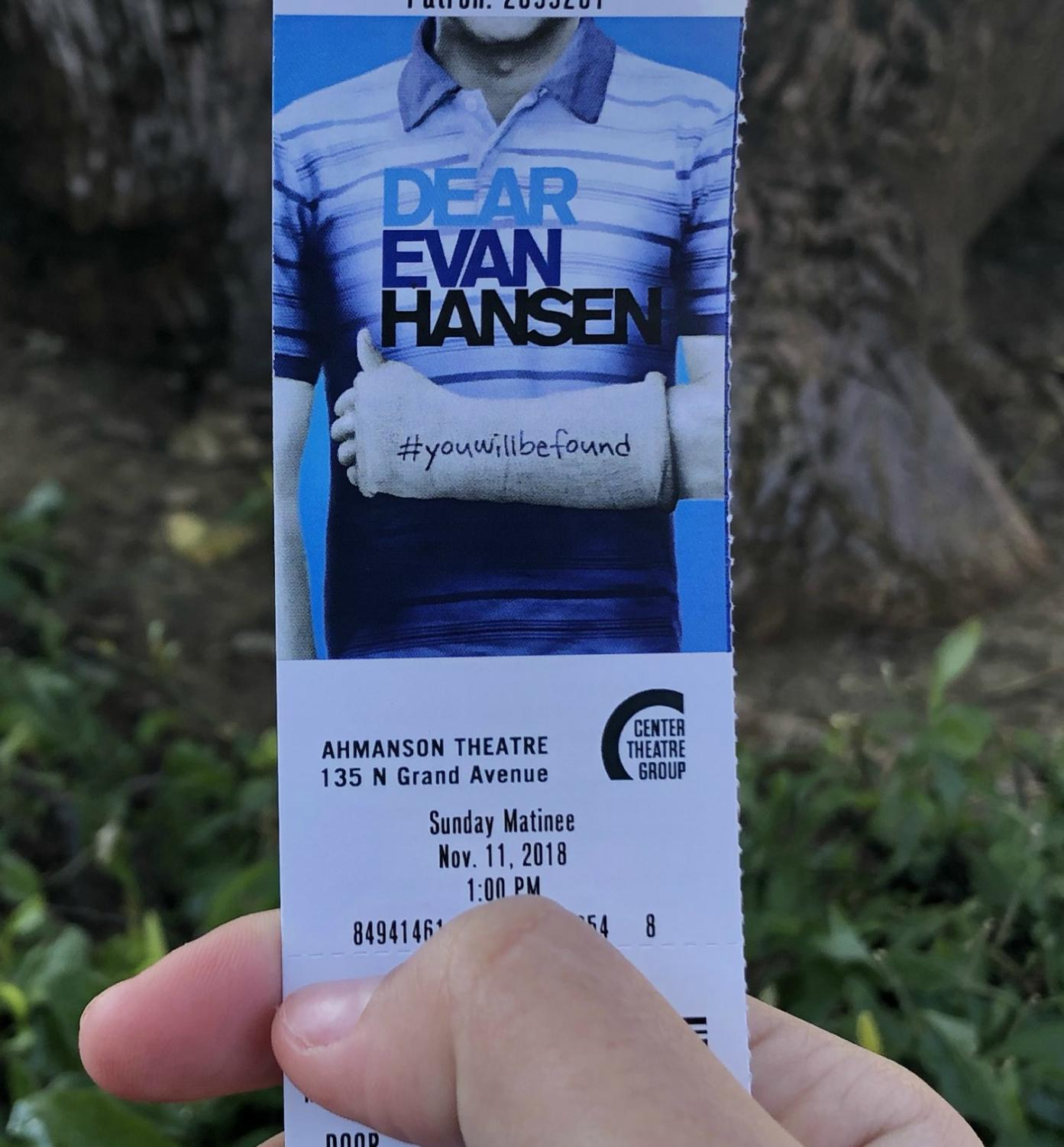 A ticket from the Dear Evan Hansen musical at the Ahmanson Theatre in Los Angeles