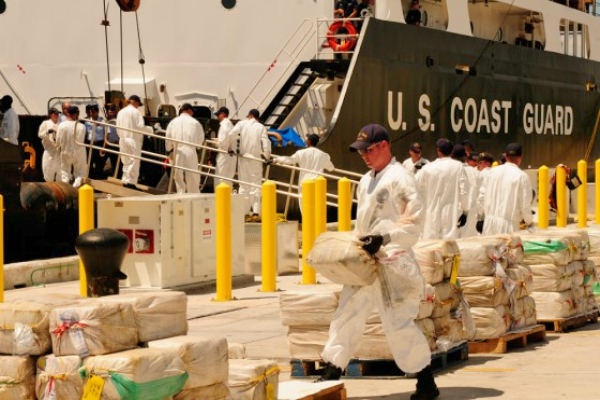 The US Coast Guard  transporting cocaine  from a cocaine bust