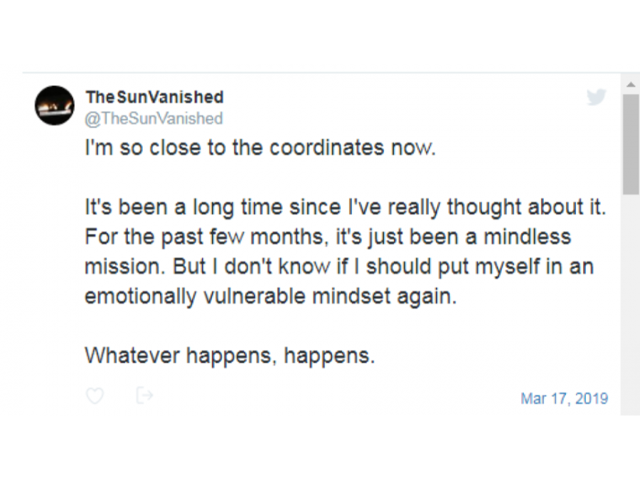 The Sun Vanished is a Twitter account that posts narratives that viewers can interact with