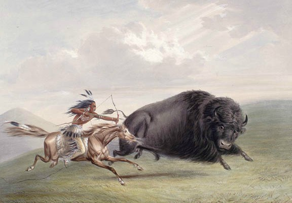 A bison being hunted by a Native American as depicted by artist George Catlin