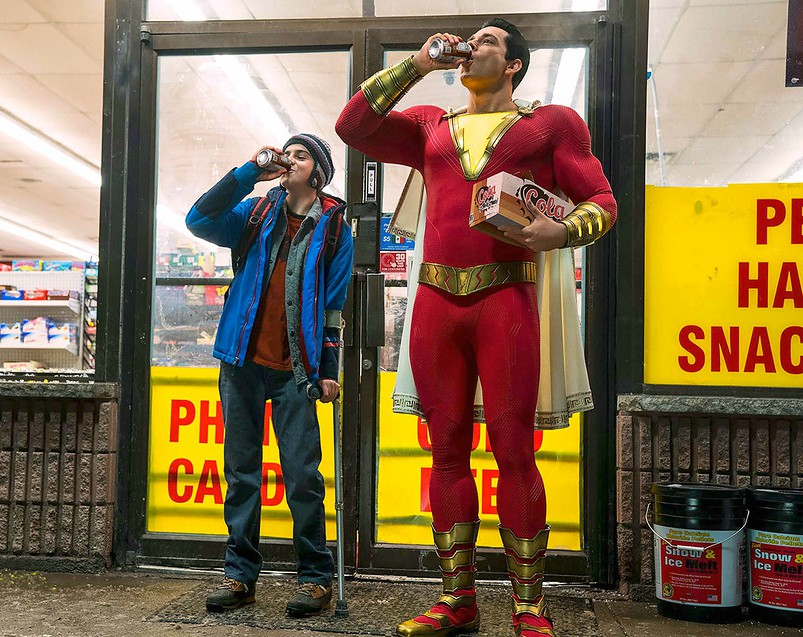 A scene from the film Shazam! in which Billy/Shazam is seen with his foster brother Freddy at a liquor store.