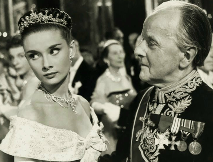 Audrey Hepburn portraying as Princess Anne in Roman Holiday, one of her first roles.