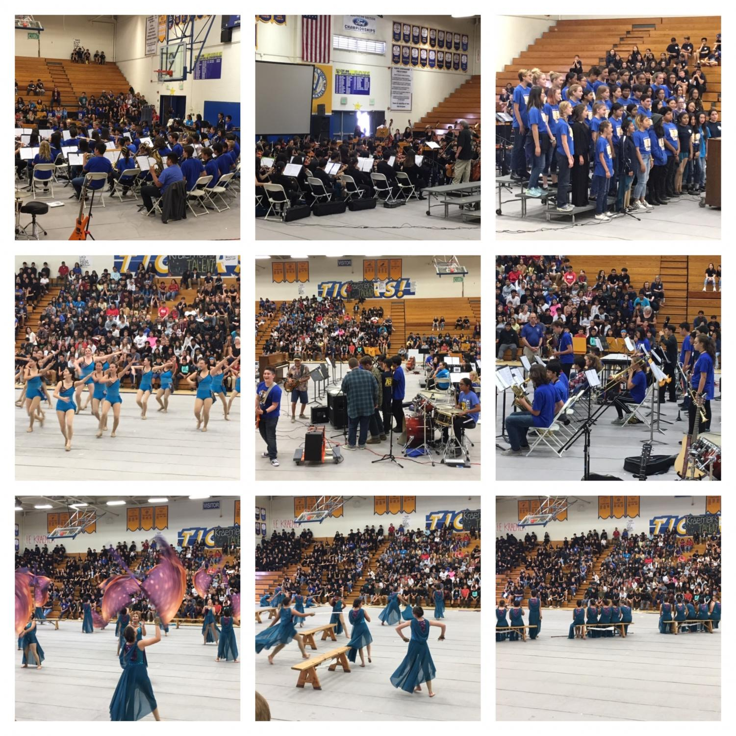 A collection of photos from the performance assembly