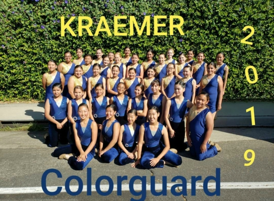 The 2019 colorguard performing together after the Placentia Heritage Parade