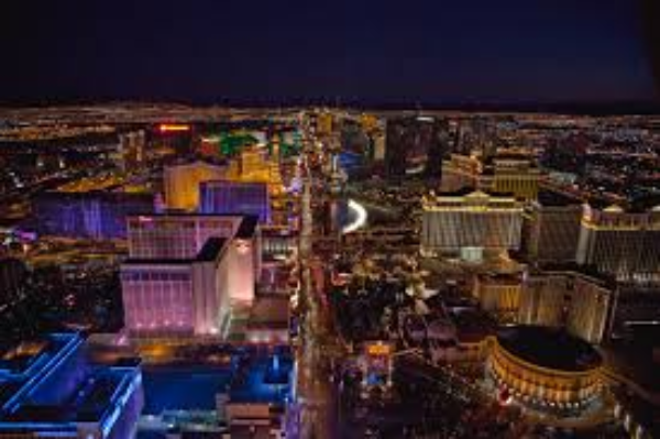 Beautiful picture of Las Vegas from a hotel high in the air