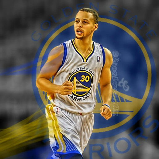 Stephen Curry in his jersey in front of the teams logo.