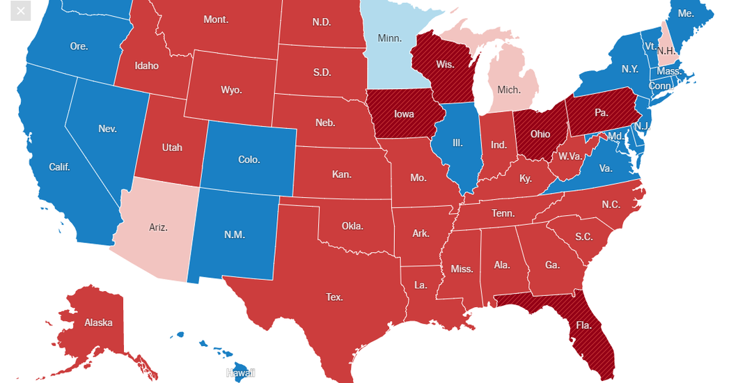 An example of the electoral college results for the presidential election.