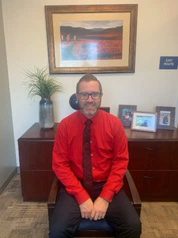 Mr. Young, the new principal here at Kraemer Middle School in his office