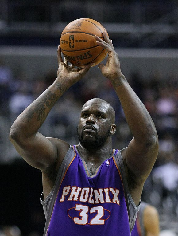 Shaquille O'Neil in his early days of his career playing for the Phoenix Suns