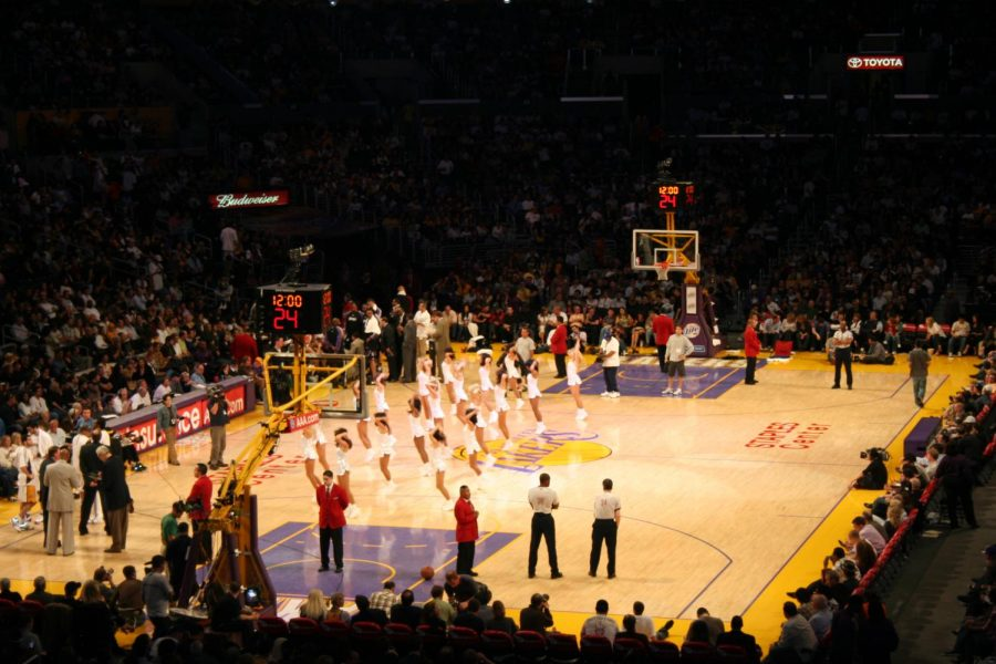 The Lakers court, during the timeout the cheerleaders are performing for the audience