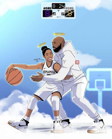 Since Kobe had died along with his daughter here is a fan made picture of the two playing basketball in heaven; RIP Kobe and Gigi