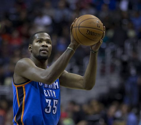 Kevin Durant shooting a free throw on his old team in 2014 (OKC)