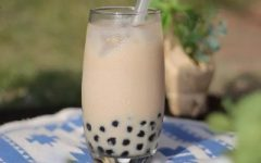 This is a picture of boba or bubble pearl milk tea.
