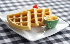 This is a picture of four waffles cut as triangles.